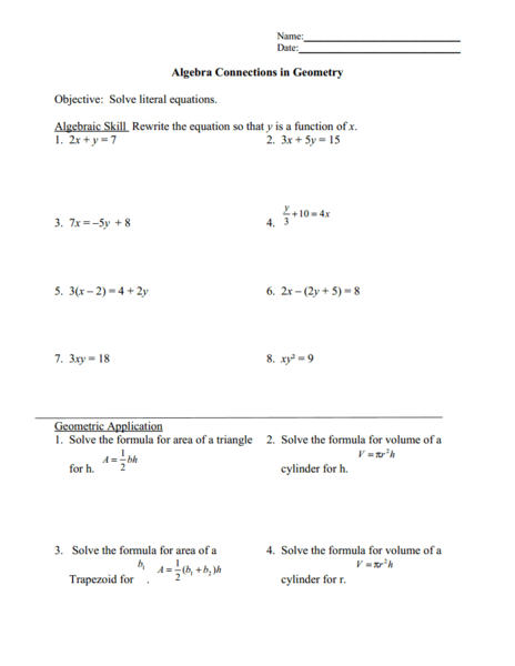 Solving Literal Equations Worksheet: Solving Literal Equations 9th   12th Grade Worksheet   Lesson Planet,