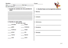 Writing Comprehension: Items and Clothing Worksheet