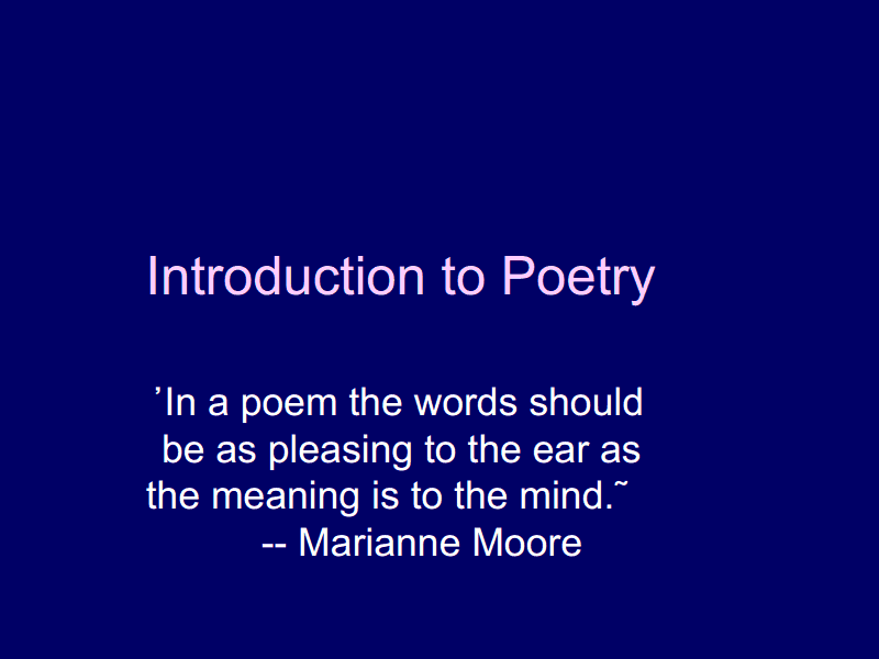 Introduction to Poetry Presentation