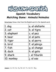 spanish animal vocabulary lesson plans worksheets. Black Bedroom Furniture Sets. Home Design Ideas