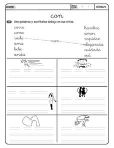 Matching Words Using Con Worksheet