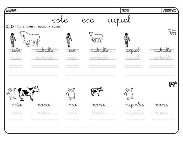 Cursive Writing: este, ese, aquel part two Worksheet for