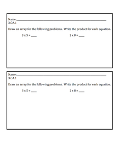 Exit Ticket 3.OA.1 Assessment