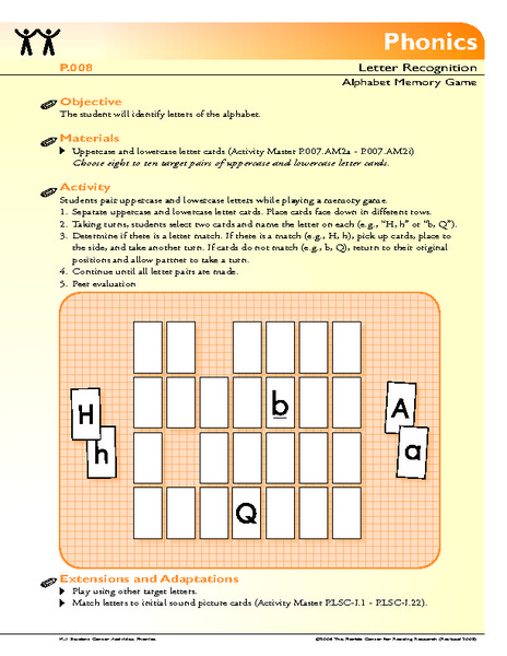 Alphabet Memory Game Lesson Plan