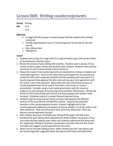 Writing Counterarguments Lesson Plan