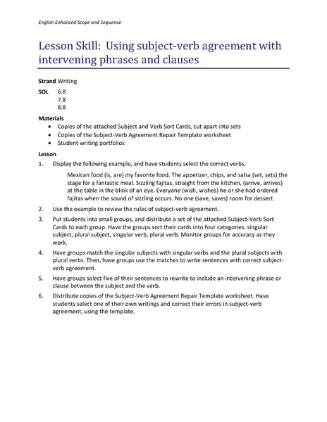 Using Subject Verb Agreement With Intervening Phrases And Clauses