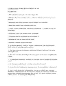 Great Expectations Reading Questions Chapters 30 - 39 Worksheet