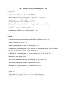 The Chrysalids: Study Questions Chapters 13 - 17 Worksheet