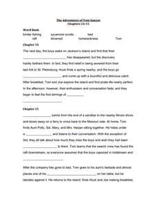 The Adventures of Tom Sawyer Chapters 14-15 Summary Worksheet