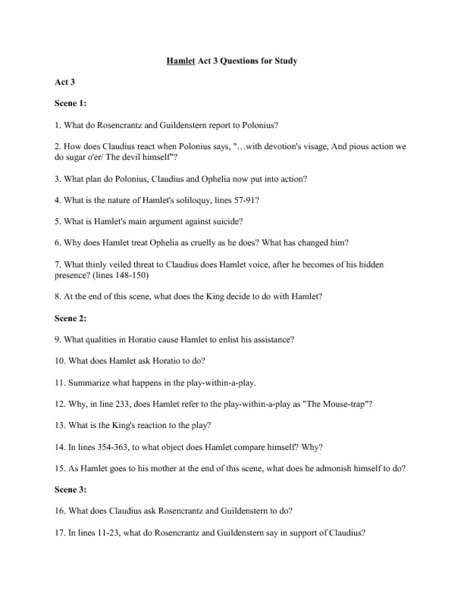 Hamlet: Act 3 Questions for Study Worksheet