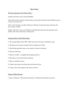 Short Story Notes Handouts & Reference