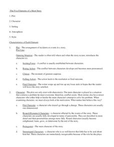Five Elements of a Short Story Handouts & Reference