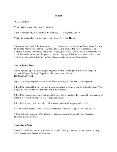 Intro to Poetry Notes Handouts & Reference