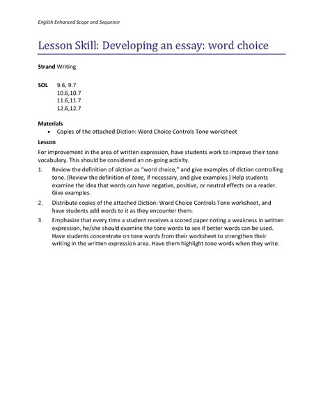 Developing an Essay: Word Choice Lesson Plan