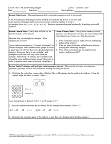Dividing Integers Lesson Plan