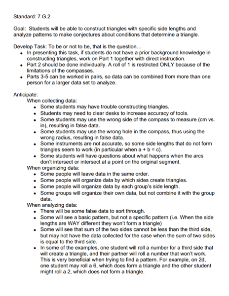 "Standard: 7.G.2 ""To be or not to be, that is the question..."" Lesson Plan"