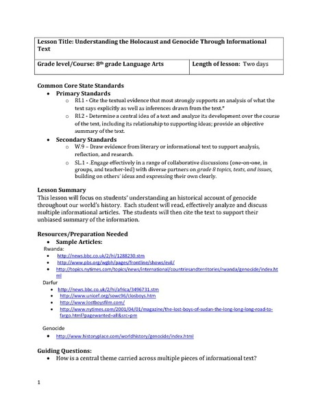 Understanding the Holocaust and Genocide Through Informational Text Lesson Plan