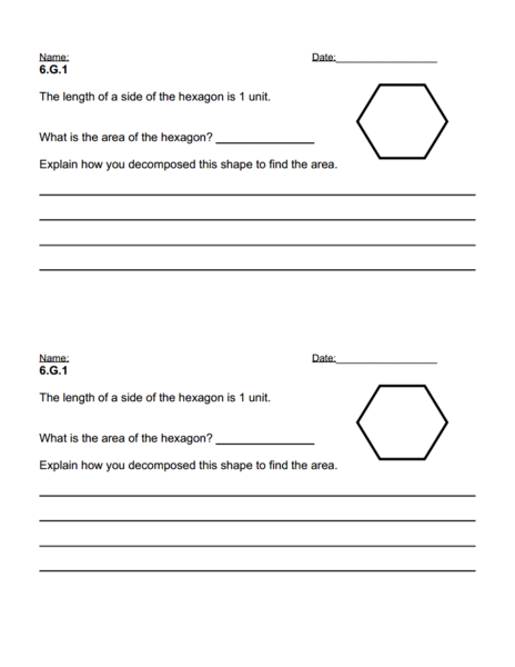Writing Task 6.G.1 ~ Area of a Hexagon Worksheet