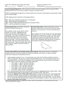 Applying Laws of Sines and Cosines Lesson Plan
