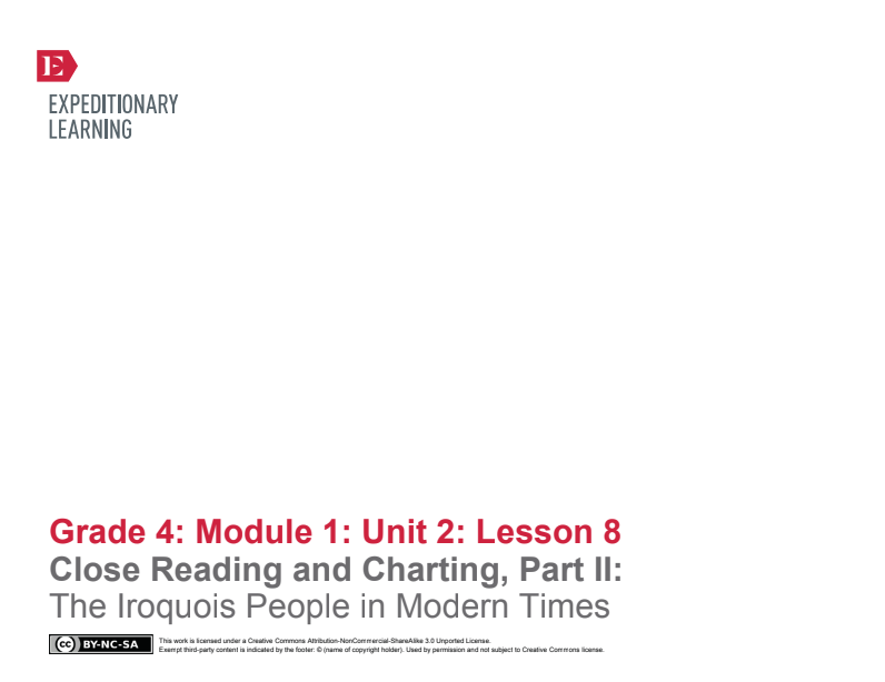 Close Reading and Charting, Part II: The Iroquois People in Modern Times Lesson Plan