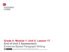 End of Unit 2 Assessment: Evidence-Based Paragraph Writing Lesson Plan