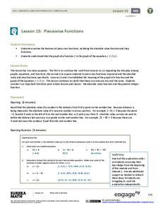 Piecewise Functions Lesson Plan