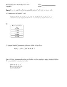 Standard Deviation Lesson Plans & Worksheets | Lesson Planet