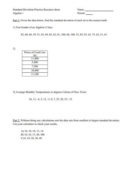 Standard Deviation Practice 9th - 12th Grade Worksheet | Lesson Planet