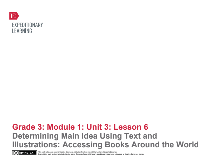 Determining Main Idea Using Text and Illustrations: Accessing Books Around the World Lesson Plan