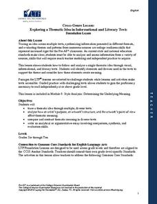 Cross-Genre Lesson: Exploring a Thematic Idea of Informational and Literary Texts Lesson Plan