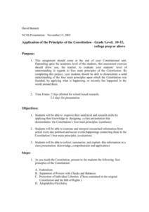 Application of the Principles of the Constitution Lesson Plan