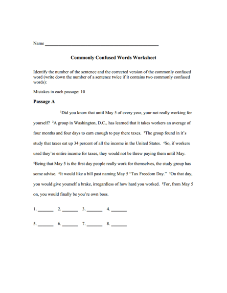 Commonly Confused Worksheet