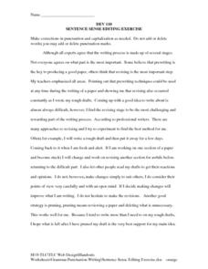Sentence Sense Editing Exercise Worksheet for 6th - 9th Grade ...