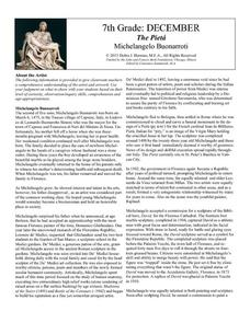 The Pietá by Michelangelo Buonarroti Lesson Plan