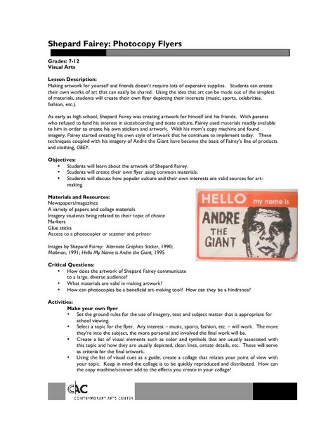 Shepard Fairey: Photocopy Flyers Lesson Plan