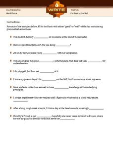 I'm Good vs. I'm Well Worksheet for 5th - 10th Grade | Lesson Planet