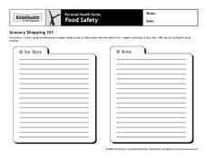 Food Safety Worksheet