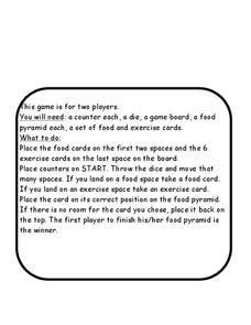 Food Pyramid Game Worksheet