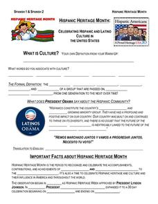hispanic heritage month worksheet for 6th 9th grade lesson planet