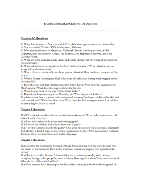 To Kill A Mockingbird Chapters 1 31 Questions Worksheet For 7th