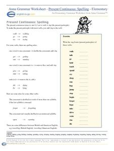 Present Continuous: Spelling Worksheet for 4th - 6th Grade ...