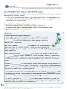 The Past Perfect Simple and Continuous Worksheet