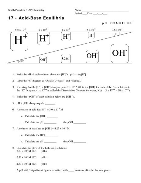 Acid-Base Equilibria: pH Practice Worksheet for 11th ...