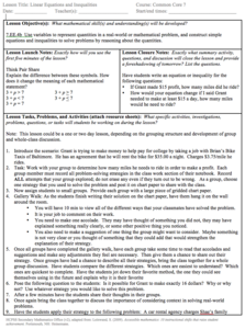 Linear Equations and Inequalities Lesson Plan