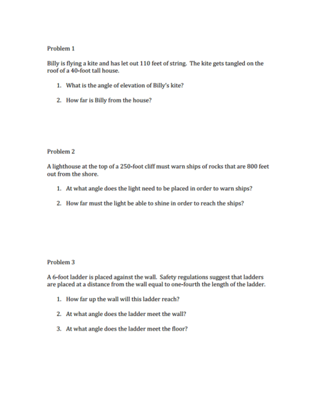 Trig Practice Worksheet For 9th 11th Grade Lesson Planet
