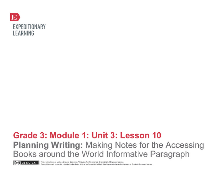 Planning Writing: Making Notes for the Accessing Books Around the World Informative Paragraph Lesson Plan