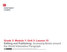 Editing and Publishing: Accessing Books Around the World Informative Paragraph Lesson Plan