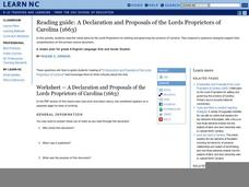 Reading guide: A Declaration and Proposals of the Lords Proprietors of Carolina (1663) Lesson Plan