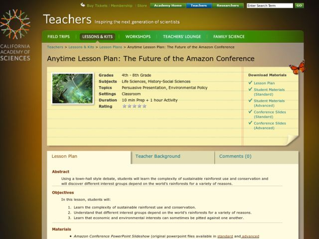 The Future of the Amazon Conference Lesson Plan