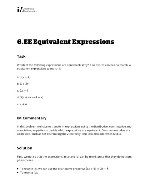 6.EE.4 Equivalent Expressions Activities & Project